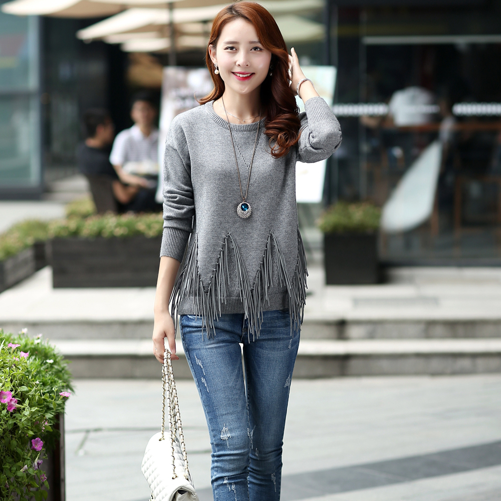 2015 New Autumn Winter Unique Tassel Sweaters Women Thin Knitted Sweater  Elegant Fashion Pullovers Sweater 1861,in Pullovers from Women\u0027s Clothing  on
