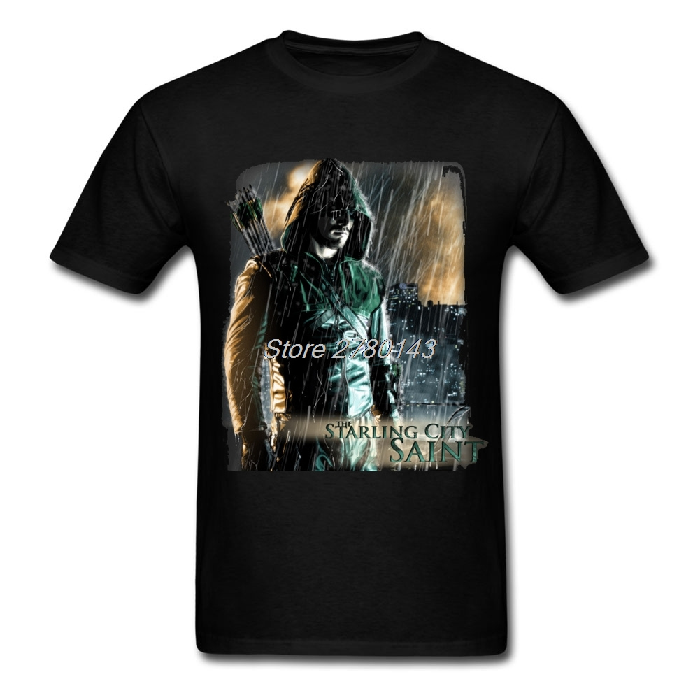 T shirt design on queen city - Create Arrow The Starling City Saint Dc Universe Tee Shirts Oliver Queen Man White Short