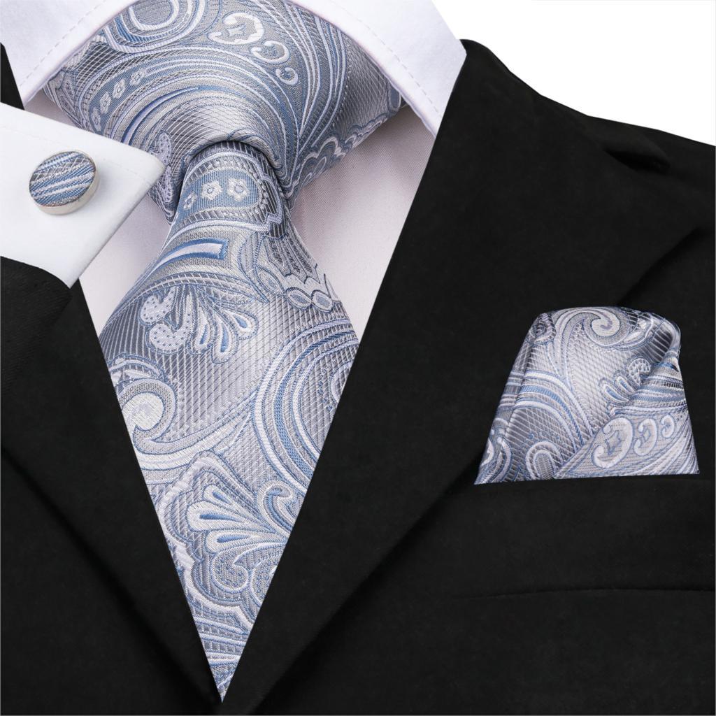 Neckties For Men Tie Paisley Floral Silk Jacquard Tie Pocket Square Cufflinks Business Wedding Silver Gray Silk Tie Set SN-3242