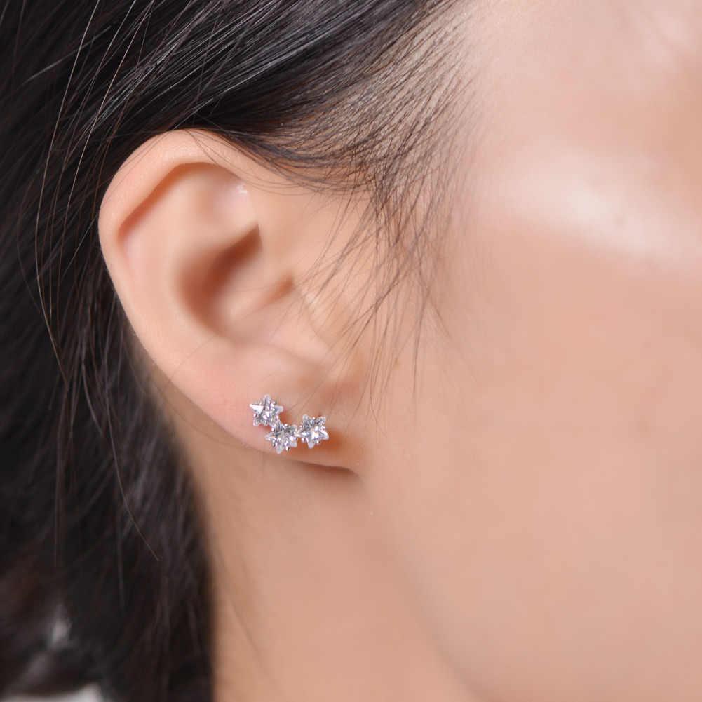 SA SILVERAGE 925 סטרלינג כסף כוכב קריסטל Stud עגילי AAA Zirconia 925 כסף עגילי לאישה תכשיטים