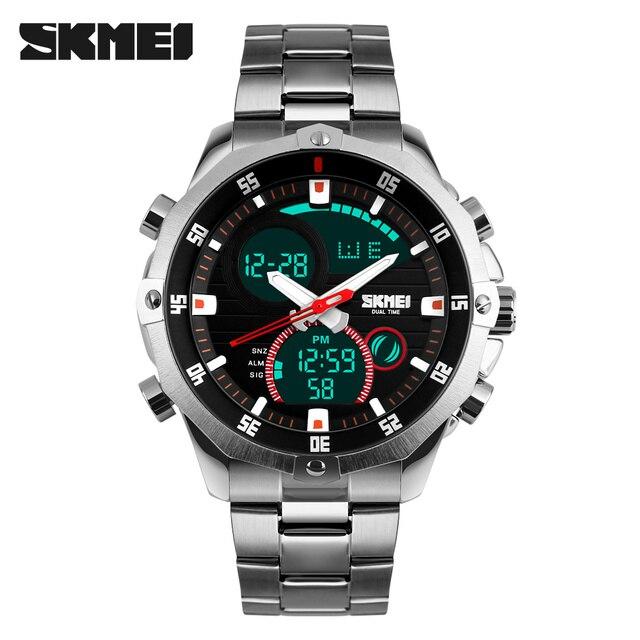 トップ高級ブランド Skmei 男性のウォッチフルスチールクォーツアナログデジタル LED 陸軍軍事スポーツ腕時計男性 Relogios Masculinos