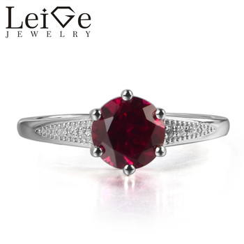 Leige Jewelry Lab Red Ruby July Birthstone Round Cut Prong Setting Engagement Carve Rings Romantic Gifts For Woman 925 Silver