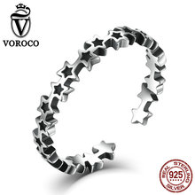VOROCO Solid 925 Sterling Silver Sky Stars Open Rings Band Cuff Adjustable Ring Women Lady Fine Jewelry VSR030