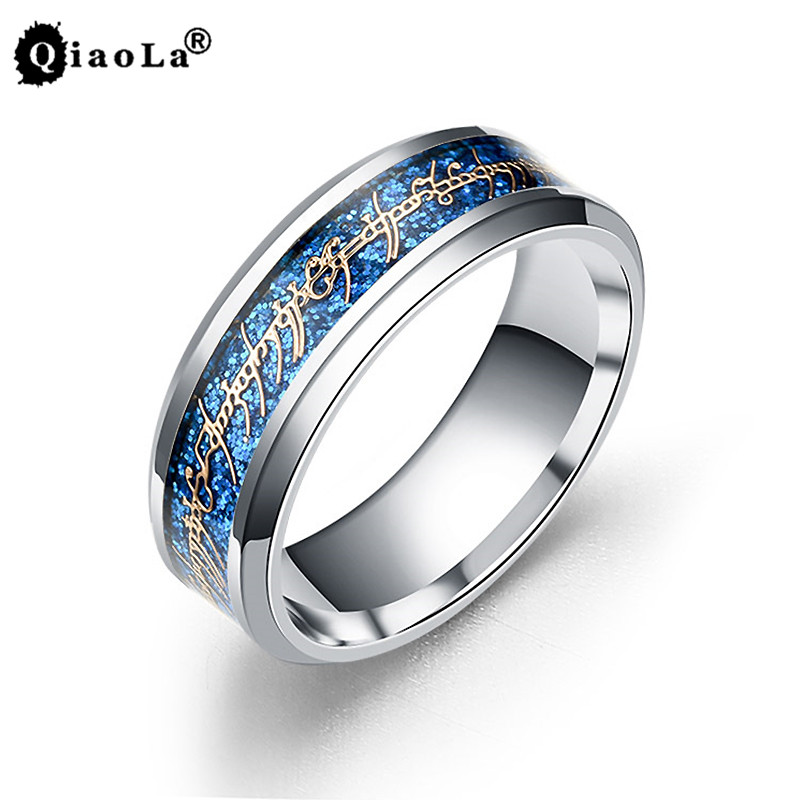 Qiao La Midi Magic Letter The Hobbit Lord of the Rings Black Blue Gold Color Stainless Steel Mens Ring Women Movie Jewelry
