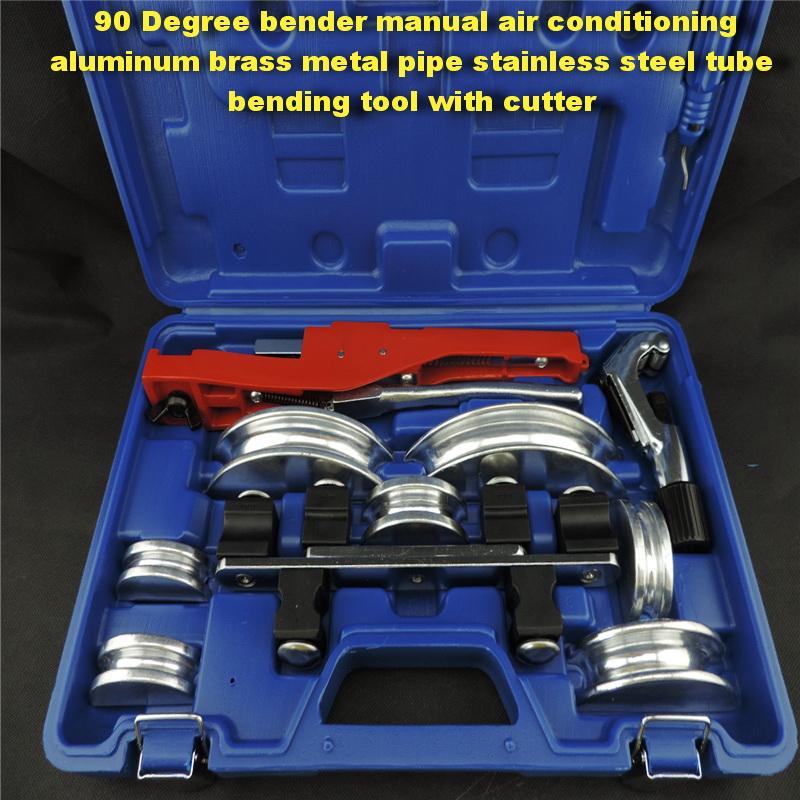 Free shipping 90 Degree bender manual air conditioning aluminum brass metal pipe stainless steel tube bending tool with cutter