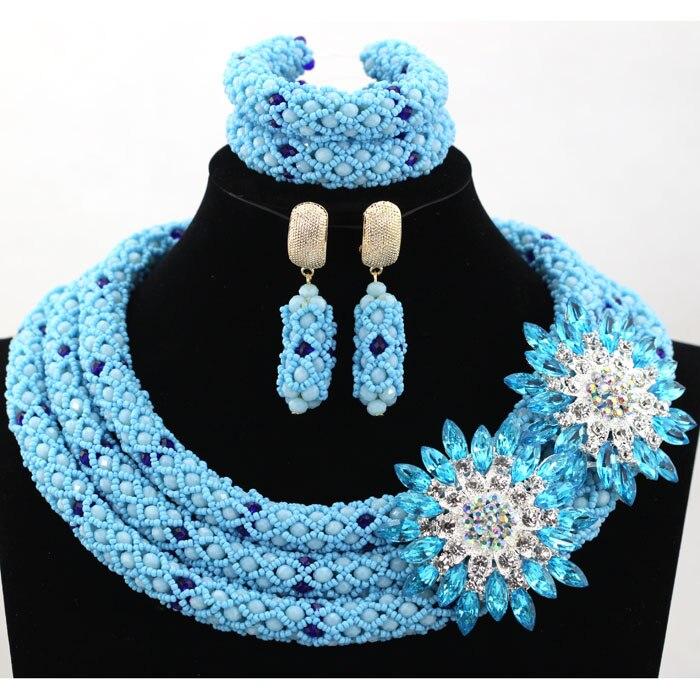 Handmade! Charming Aqua Blue African Beads Jewelry Set for Wedding Handmade Crystal Beads Women Jewelry Set Free Shipping HX819 charming sequins beads anklet for women