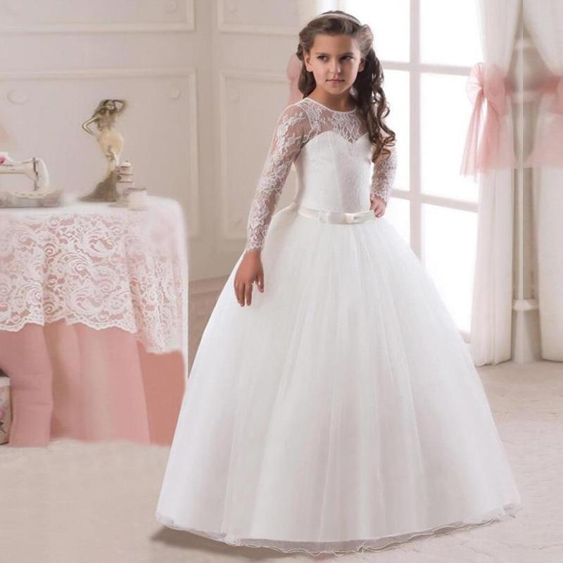 Girls Kids Wedding Flower Girl Dress Princess Party Pageant Dresses Long Sleeves Long White Dresses vestido longo 5-14T Teenage grey side pockets cold shoulder long sleeves dresses