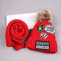 1 13T Boys Girls Warm Fur Fleece Winter Hat Baby Kids Children Cap Scarf 2pcs Set
