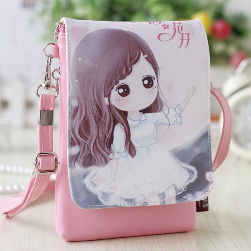 Модные женские Искусственная кожа мультфильм сумка для девочек сплошной цвет Квадратная мини Сумочка # F