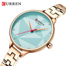 CURREN Ladies Watches Quartz Wrist Watch Clock Crystal Sky Blue Dial Woman Rose Golden Stainless Steel Bracelet Relogio Feminino