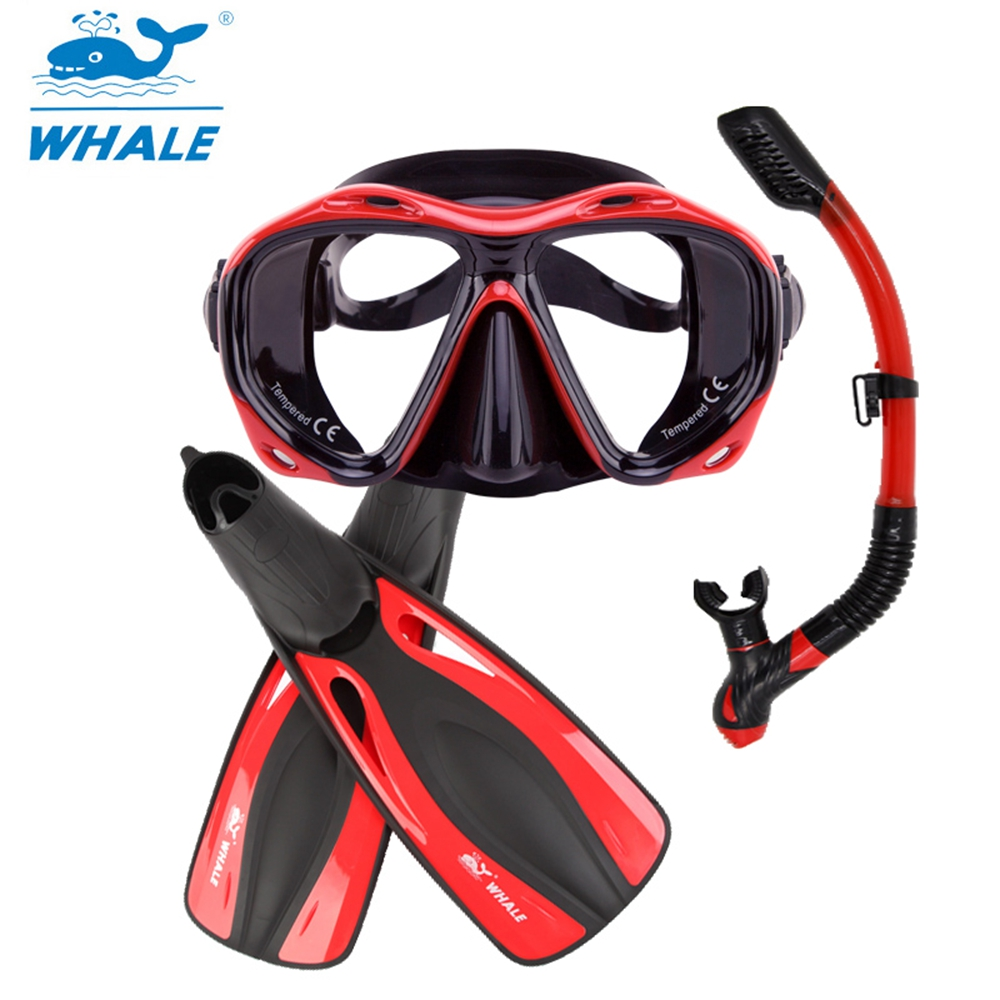 Whale Scuba Swimming Diving Mask Goggles With Snorkel Fins Free Diving Scuba Diving Equipment Set Underwater Hunting gull super bullet snorkel for diving scuba