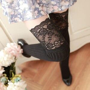 Image 3 - 新しい秋のファッションセクシーなレースストッキング暖かい腿の高ストッキングオーバーニーソックスストッキングガールズレディース女性暖かいタイツ