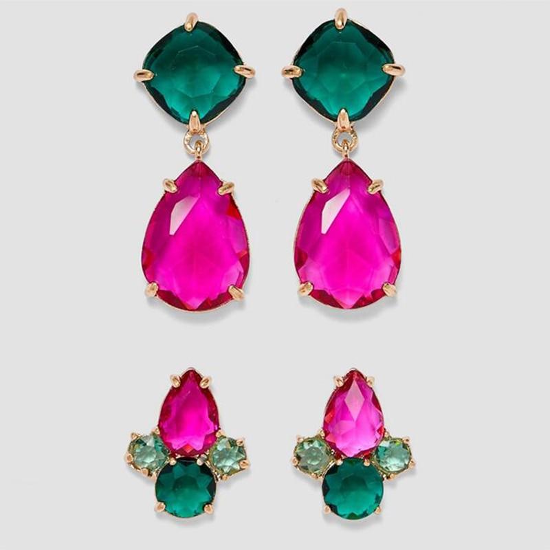 Lalynnlys 2019 New Fashion Green Red Rhinestone Crystal Drop Earrings For Women Party Wedding Earrings Vintage Jewelry E50971