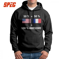 Men Half French Half American 100% Awesome Flag France Hoodies New Style 100% Cotton Hooded Sweatshirt Novelty Hoodie Shirt