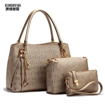 KIHUN Women Fashion Handbag Pu Leather Bag Set 3 Pcs Shoulder Bags 2018 New High Quality Luxury Composite Shoulder Messenger Bag