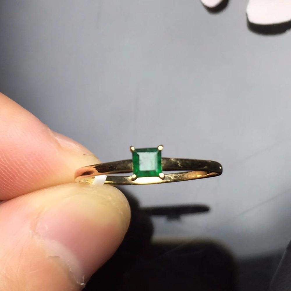 Fine Jewelry Love g18K Real 18K Gold 3MM Natural Emerald Gemstone Love Female Wedding Rings for women Fine Ring