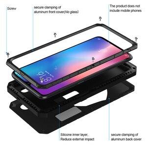 Image 2 - ForXiaomi9 9 T твердый корпус для телефона Алюминиевый металлический протектор экрана из закаленного стекла полное покрытие сверхмощный защитный чехол