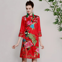 High end spring summer women Chinese style floral dress embroidery cheongsam elegant slim lady A line Qipao party dress S XXL