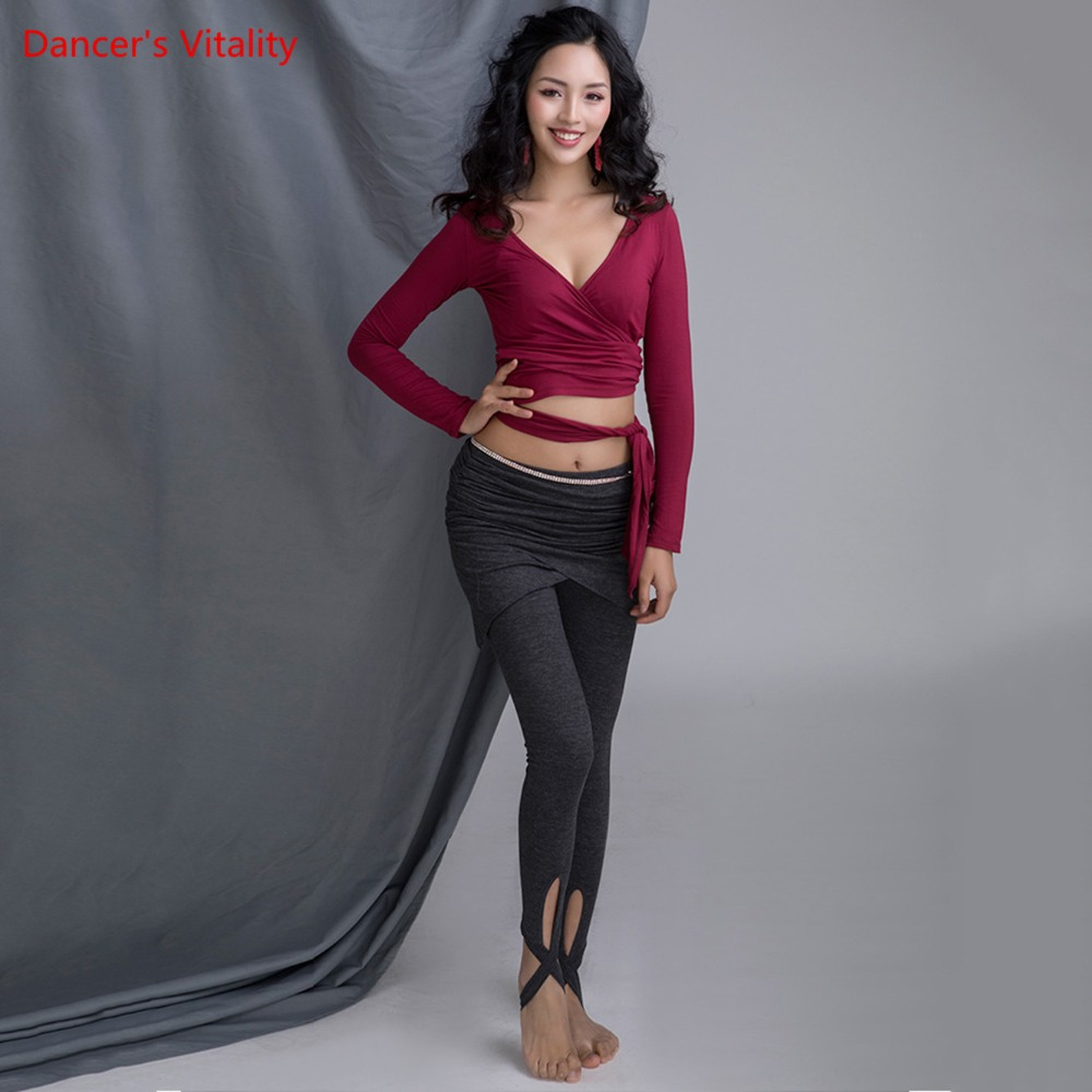 New Cotton For Women Competition Practice Belly Dance Clothes V-neck Top Knitted Short Pants Black Gray