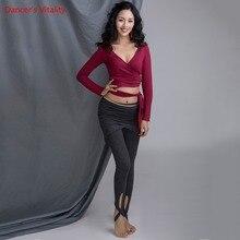 Nouveau coton pour les femmes compétition pratique danse du ventre vêtements col en v haut tricoté pantalon court noir gris