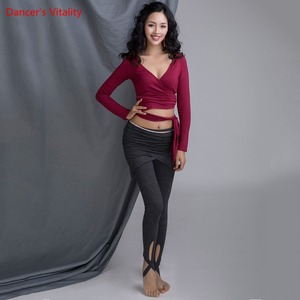 Image 1 - חדש כותנה לנשים בפועל תחרות ריקודי בטן בגדי V צוואר למעלה סרוג קצר מכנסיים שחור אפור