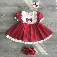 European England Style Infant Baby Girls Lace Dresses Summer Girl's Frock with Bow Children's Princess Dress