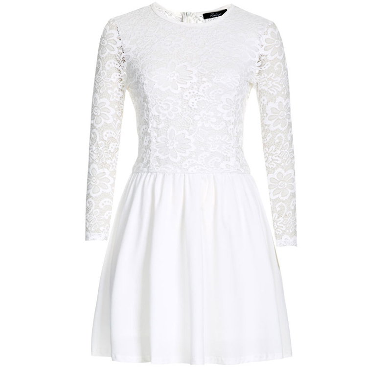 Black White Lace Skater Dress 2015 Summer Style Chiffon Vestido