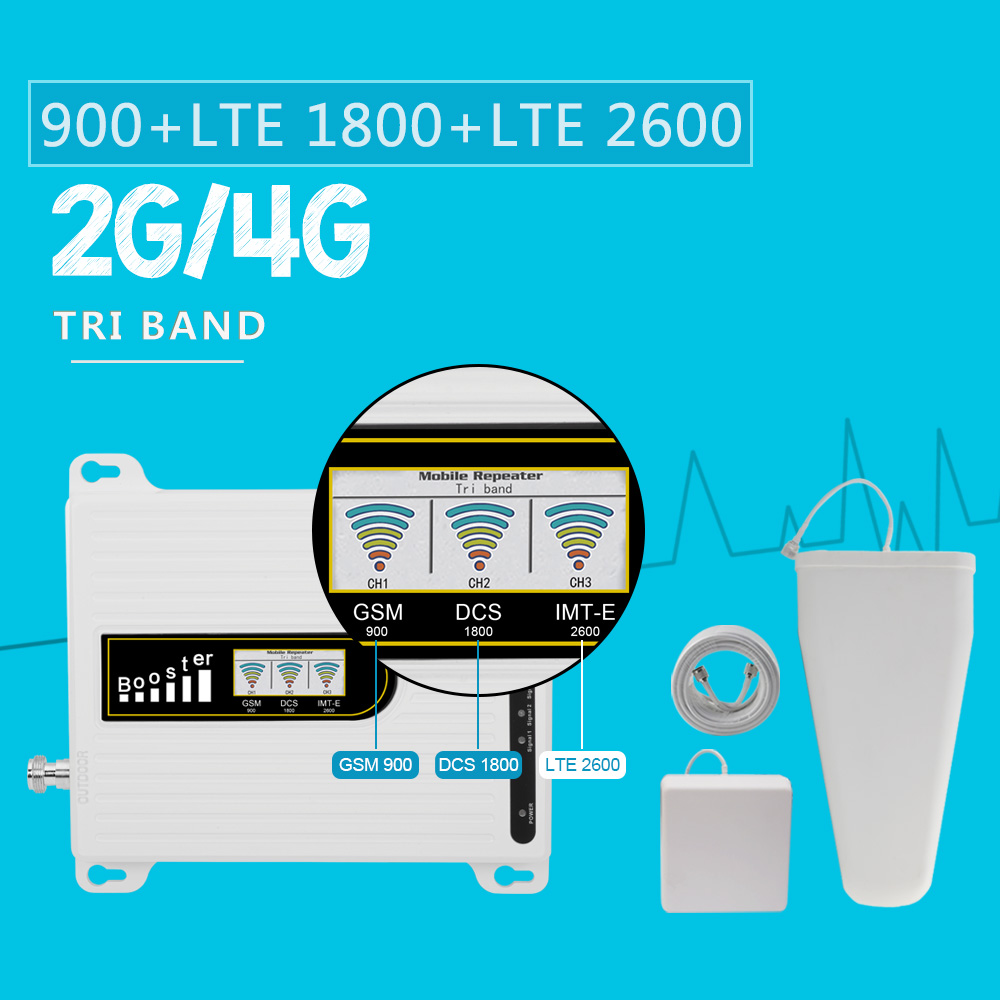 2019 New Repeater GSM 900 DCS/LTE 1800 LTE 2600 Mhz Tri Band Moblie Signal Booster B3 B7 70dB Gain 4G LTE Amplifier Antenna Set