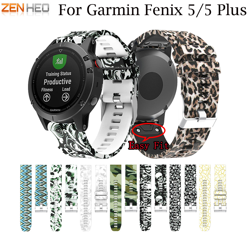 22MM Watchband for Garmin Fenix 5/5 plus for forerunner 935 GPS Watch Quick Release Printed Silicone Easyfit Wrist Band Straps 22mm watch band accessories stainless steel quick fit release watch bands straps for garmin forerunner 935 fenix 5