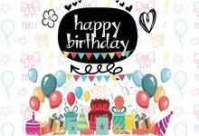 Laeacco Happy Birthday Cartoon Decoration Scene Baby Photography Backgrounds Customized Photographic Backdrops For Photo Studio