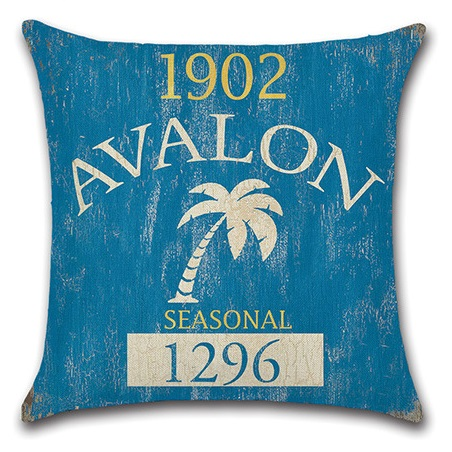 2pcs Blue Yellow Red Letter Coconut Tree Dolphin Sail Boat Swimming Ring Vintage Printed Simple Cotton Linen Cushion Cover