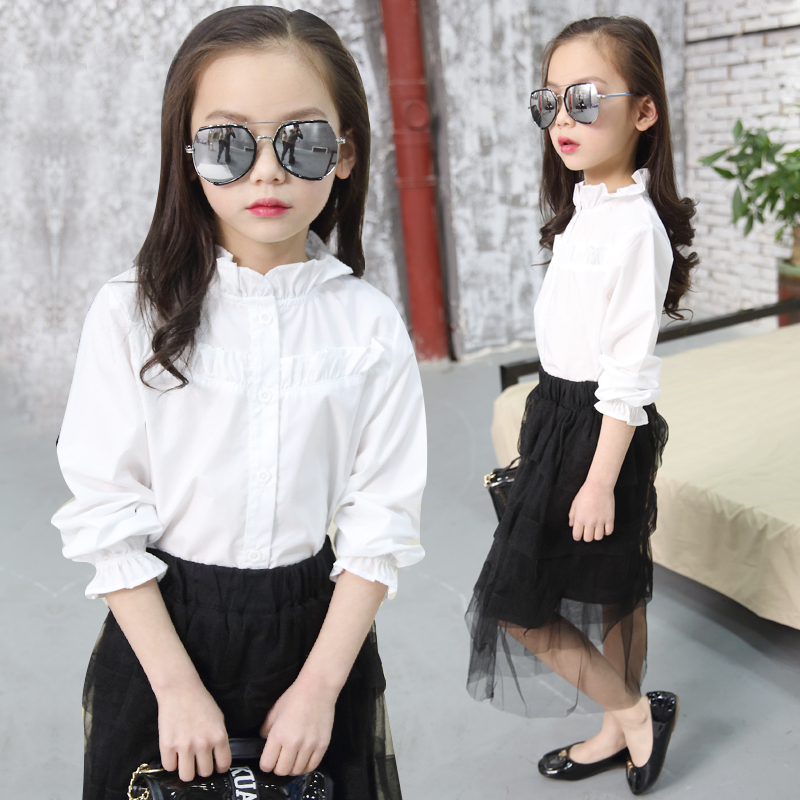 2018 New Girls Blouses Spring Summer Fashion Hot Sale Shirt for Baby Kids Clothes Girls Long Sleeve Blouses Vestidos 11 12 13 14