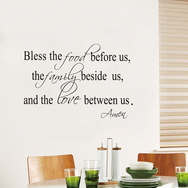 Bless The Food Family Love Religious Dining Room Vinyl Wall Decal Quote Stickers Mural Art