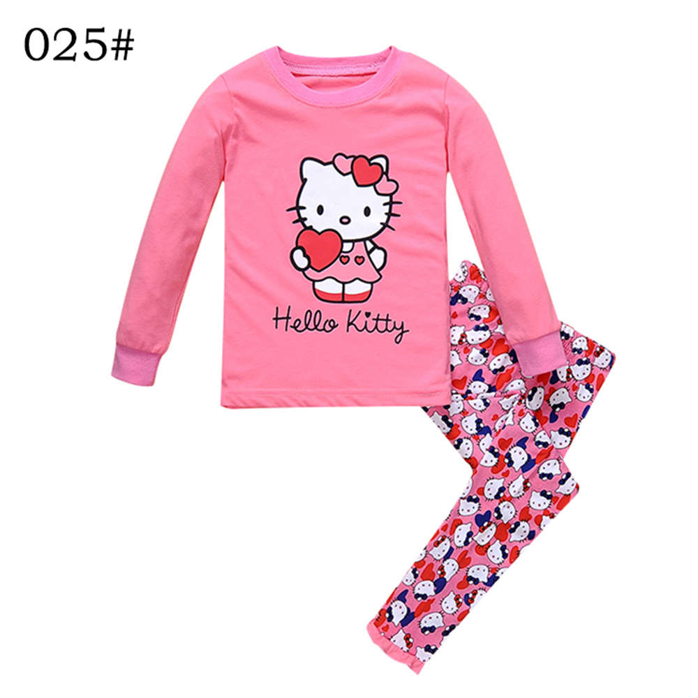 Toddler Kids Girl Pyjama Hello Kitty Baby Clothes Set 2016 Infant Pajamas Sleepwear Tops+Pants Size 2 3 4 5 6 7 Years