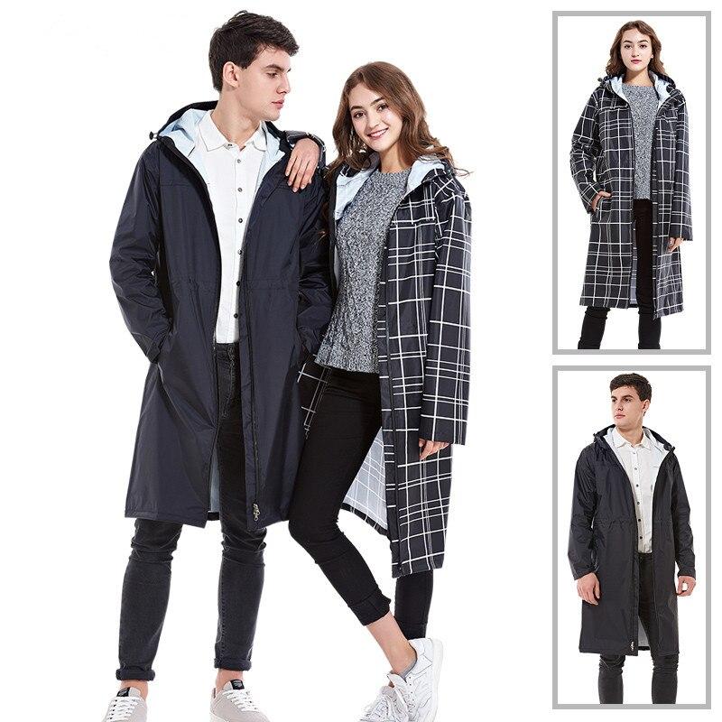 Long imperméable hommes femmes vestes de pluie extérieur filles vestes noir imperméable avec capuche combinaison de pluie avec fermeture éclair livraison gratuite