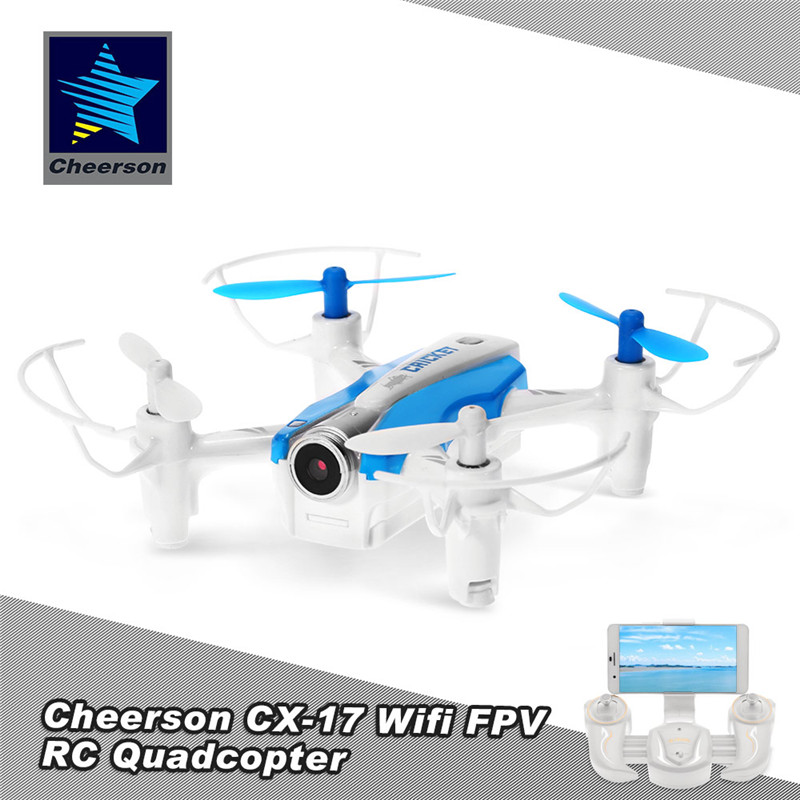 Cheerson CX-17 CRICKET Mini WiFi 6-Axis Altitude Hold Mode RC 2.4G 4CH 6-Axis Quadcopter G-Sensor Selfie RTF Toys High Hold FPV cheerson cx 10wd cx10wd mini wifi fpv with high hold mode 2 4g 6 axis phone wifi control mode rc quadcopter rtf fun toys drone