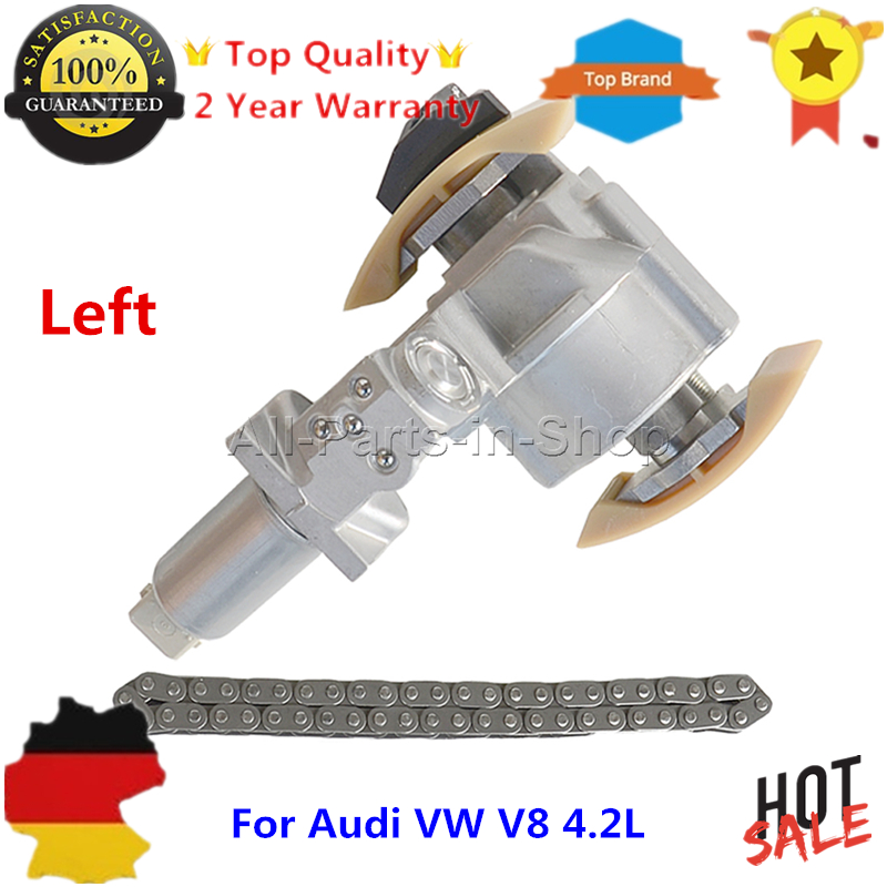 1 x Set Left Side Timing Chain Tensioner + 1 Chain for Audi A6 S6 A8 S8 VW Phaeton Touareg 4.2L V8 077109087C E P, 058109229B
