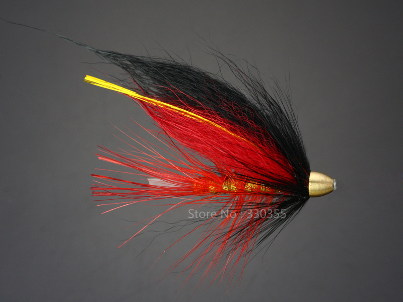 Tube Fly Red and Black Cone Heads Salmon And Sea Trout Fly Fishing Flies Lures 100Pcs --