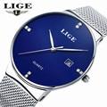 LIGE Brand мужские часы простой платье кварцевые часы мужчины стали ремешок кварцевые часы Ультра-тонкий ультра часы relogio masculino
