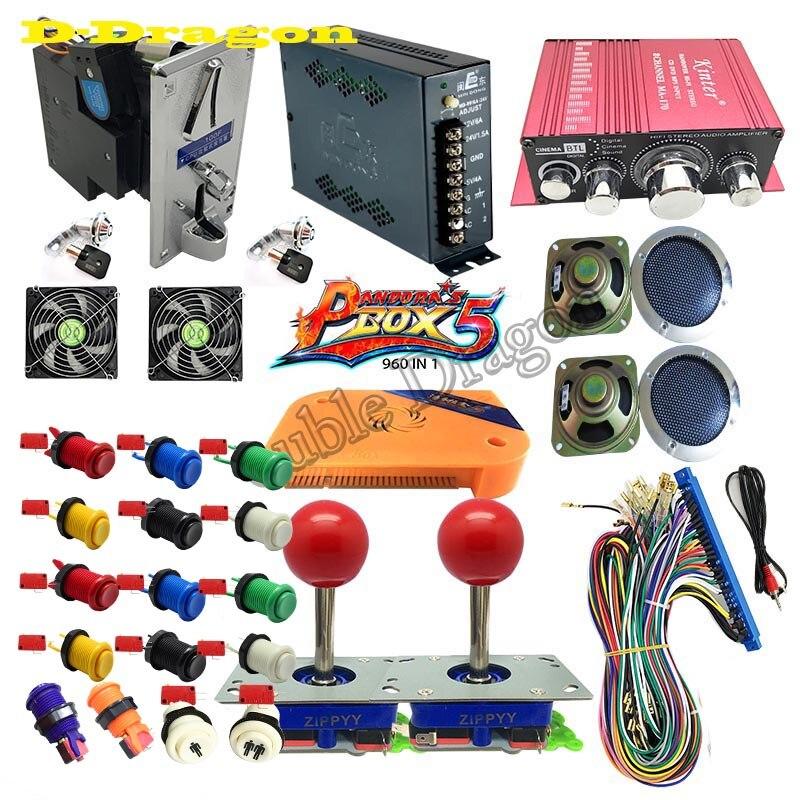 Pandora Box5 pandora s 4 Plus DIY Arcade Bundles Kits Parts With Power Supply Jamma Harness