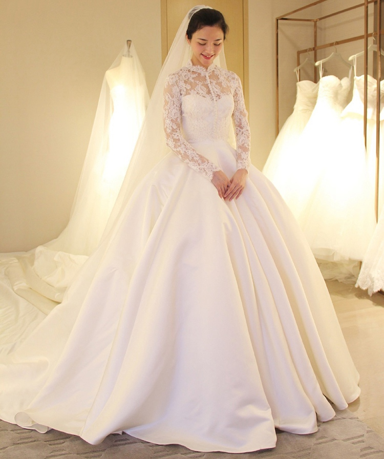 Атласное свадебное платье со съемным кружевным верхом Свадебные платья для невесты на заказ Superbweddingdress