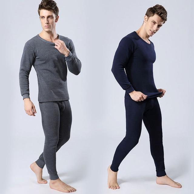 Hombres calientes conjunto de ropa interior térmica interior Wear Undershirt pantalones largos tapas calientes completo Outfit