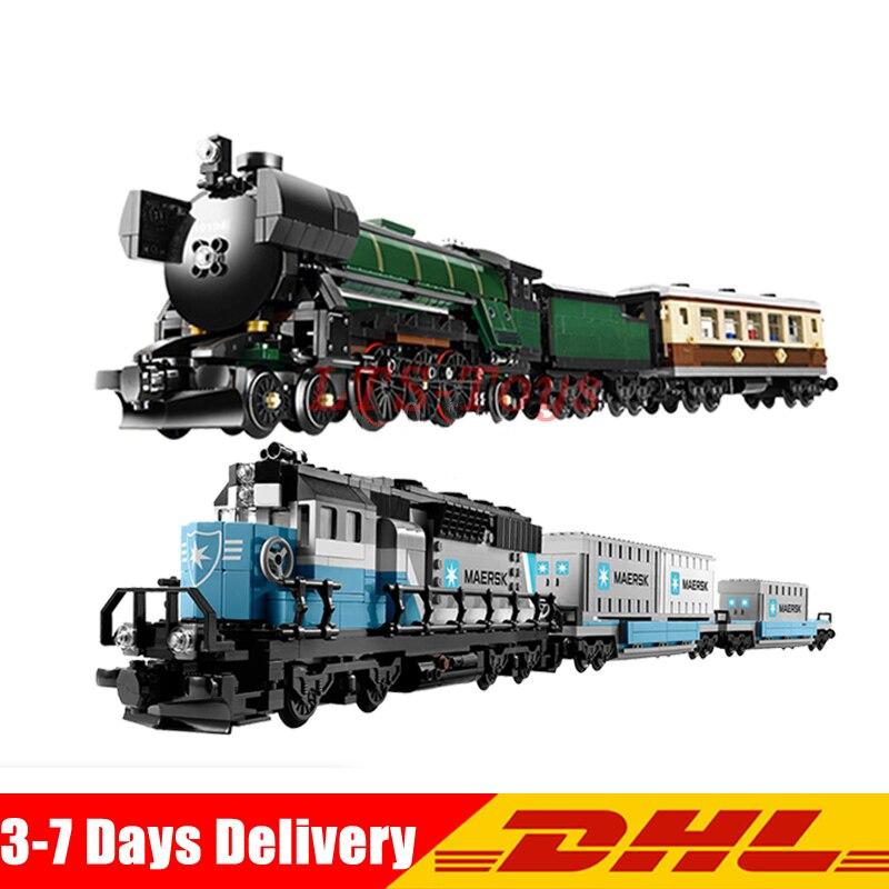 LEPIN 21005 Emerald Night Train+21006 Maersk Train Technic Series Model Building Kits Block Bricks Collection Clone 10194 10219