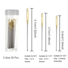 30pcs 3.4cm 3.7cm 4.1cm DIY Hand Sewing Needles Gold Eye Embroidery Cross Stitch With Threaders Home Accessories