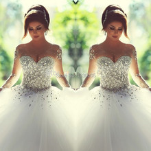 Said Mhamad Ball Gown Wedding Dress 2015 vestidos de noiva Sheer Sleeves Bridal Gowns with Crystals Sweet