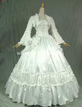 19th Century Solid White Victorian Ball Gown Dress Reenactment Stage Costume