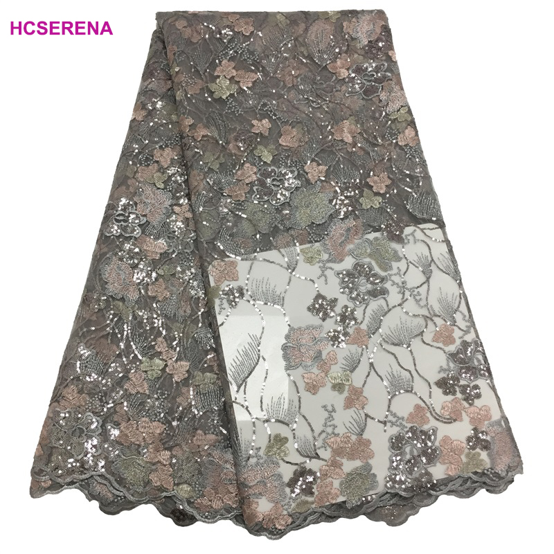 wholesale african lace fabric 2019 high quality lace with sequins french lace fabric for wedding dress