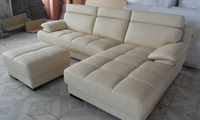 Furniture Living Room Leather Sofa Top Grain Leather L Shaped Corner Sectional Sofa Set For Living