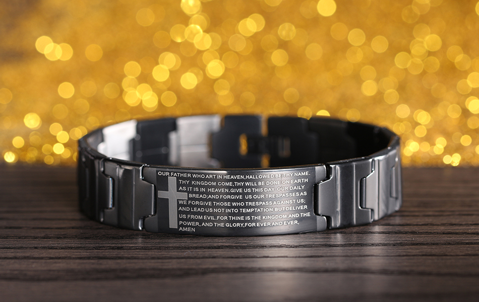 KISS MANDY Black Color Cross Religious Bracelet with Bible Verses Men Stainless Steel Bracelet FB83 9