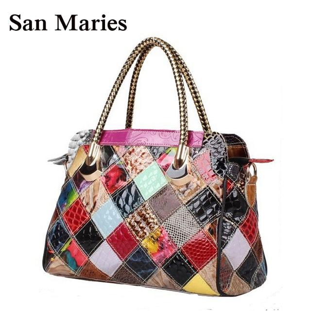 Elegant Patent Leather Womens Fashion Satchel Handbags Colorful Snake Print Patchwork Shoulder Bag Tote